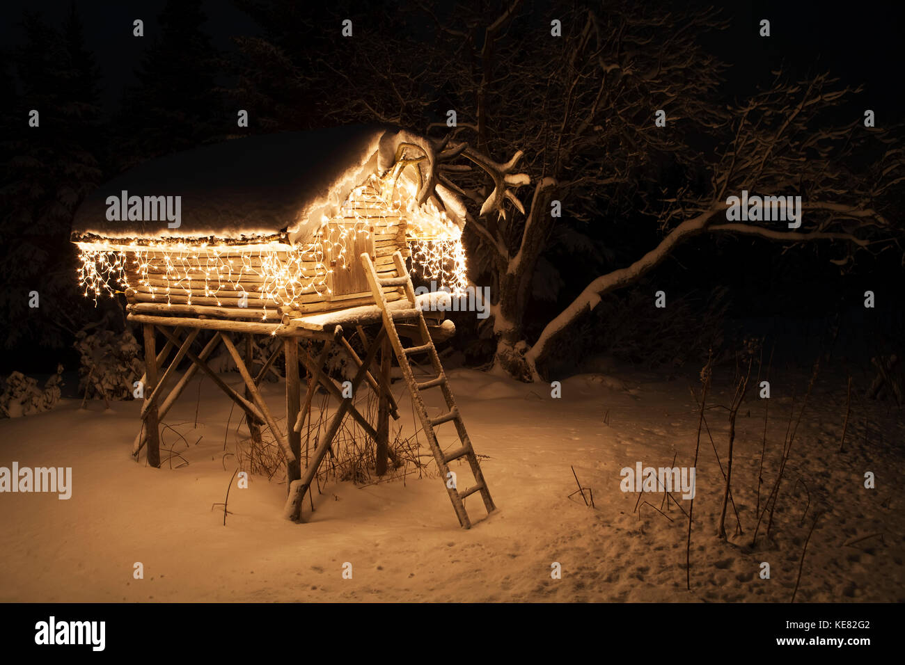 Cache Lit Log Cache Decorated And Lit With Christmas Lights Alaska Usa