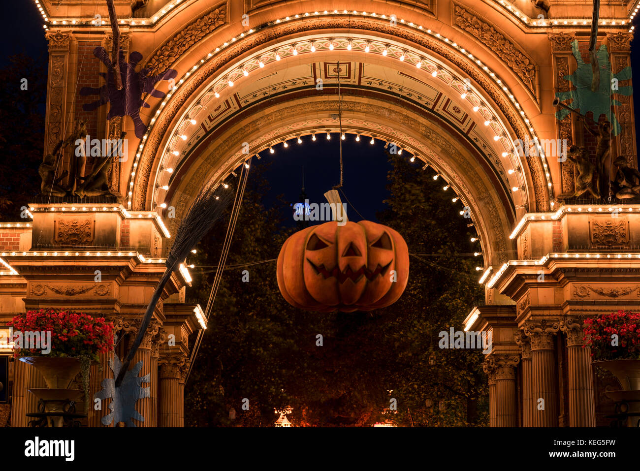 Halloween Pumpkin In Front Of The Illuminated Main Entrance To Tivoli Stock Photo Alamy