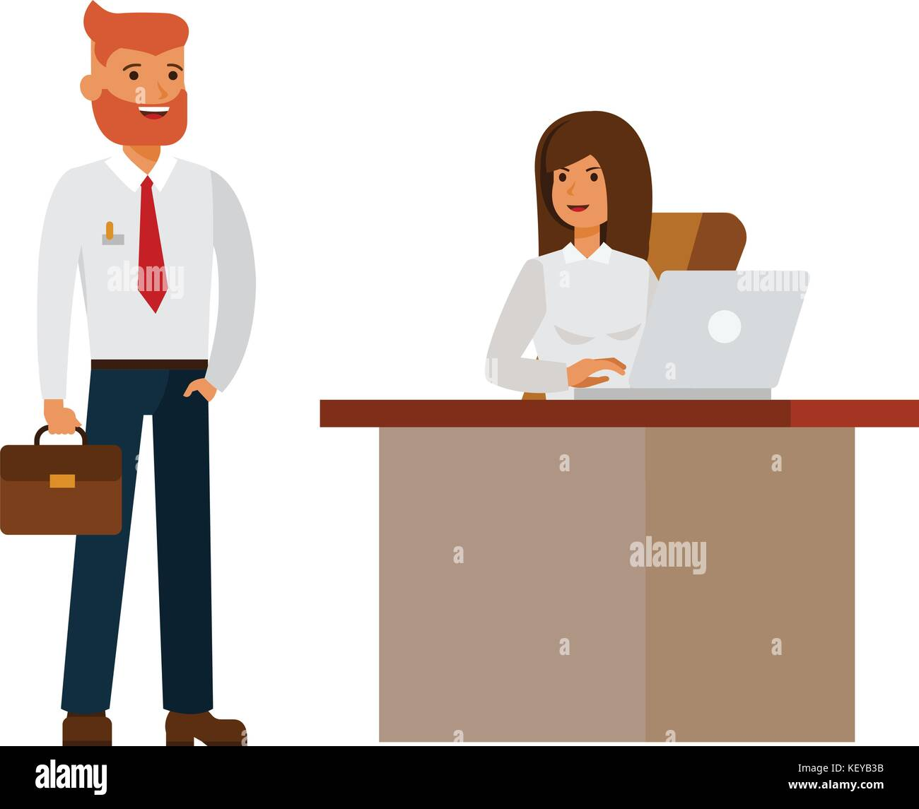 Bureau Interviewer Professionnel Businesswoman And Businessman Interview In Office Cartoon