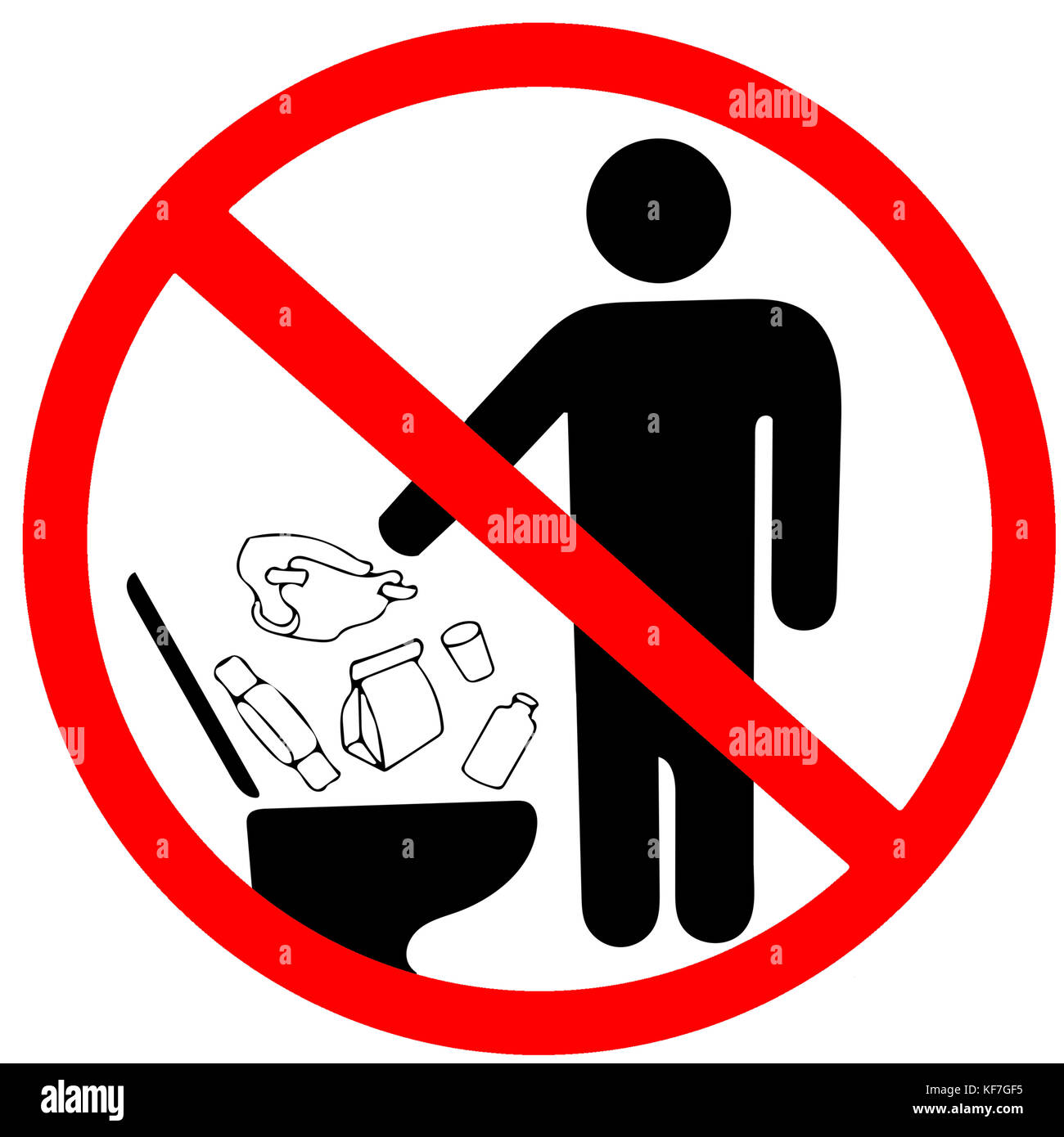 Poubelle De Toilette Do Not Litter In Toilet Icon Keep Clean Sign No To Throw