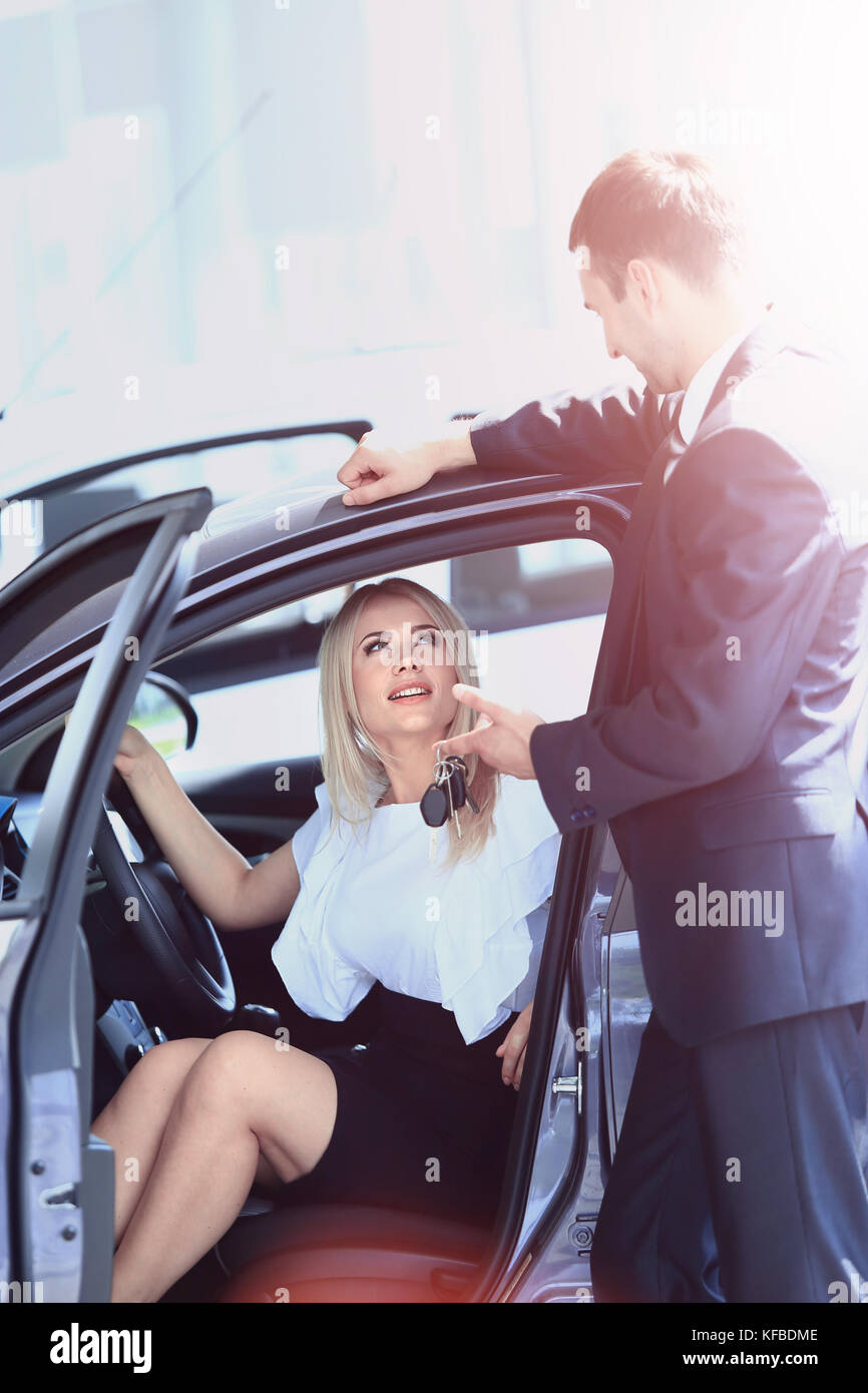 Buying A New Car Woman Buying A New Car Stock Photo 164365390 Alamy