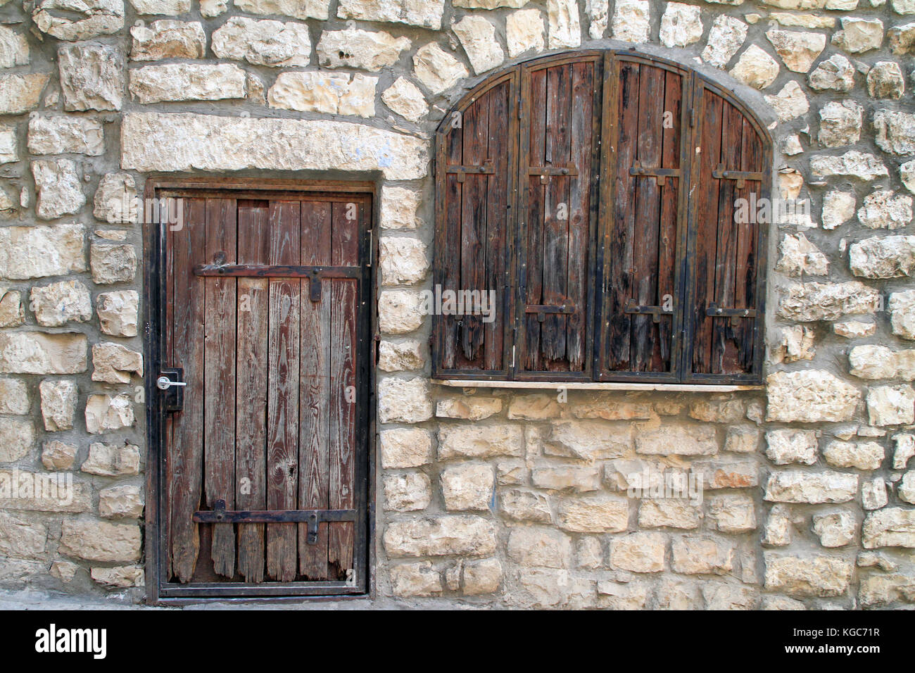 Wooden Door Blinds Old Wooden Door And Window Blinds In Israel Stock Photo 164996771