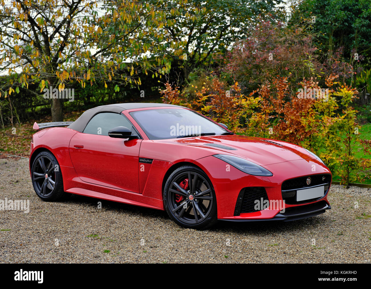 Jaguar F Type Red A Red Jaguar F Type Svr Sports Car In A Country Driveway