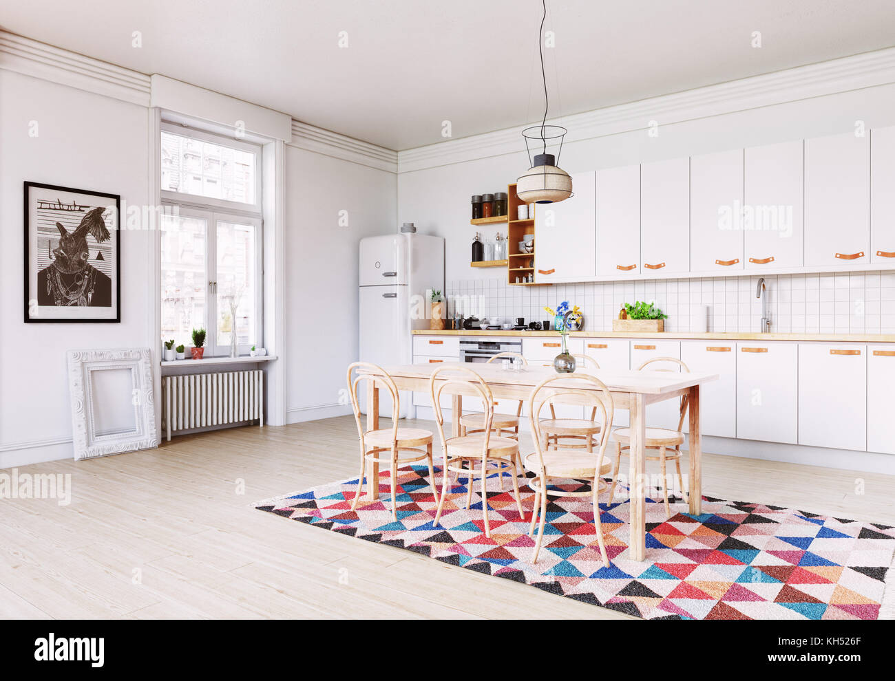 Skandinavisches Interior Modern Kitchen Interior Scandinavian Style Design 3d Rendering