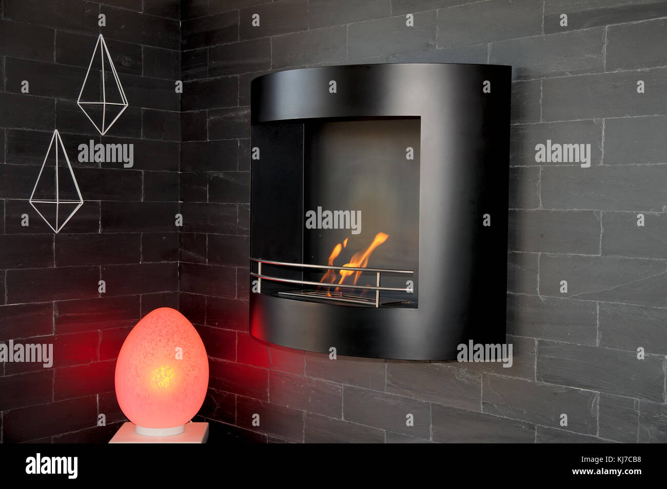 Cheminee Ethanol Decorative Wall Mount Bio Ethanol Fireplace On A Black Brickwall With Red