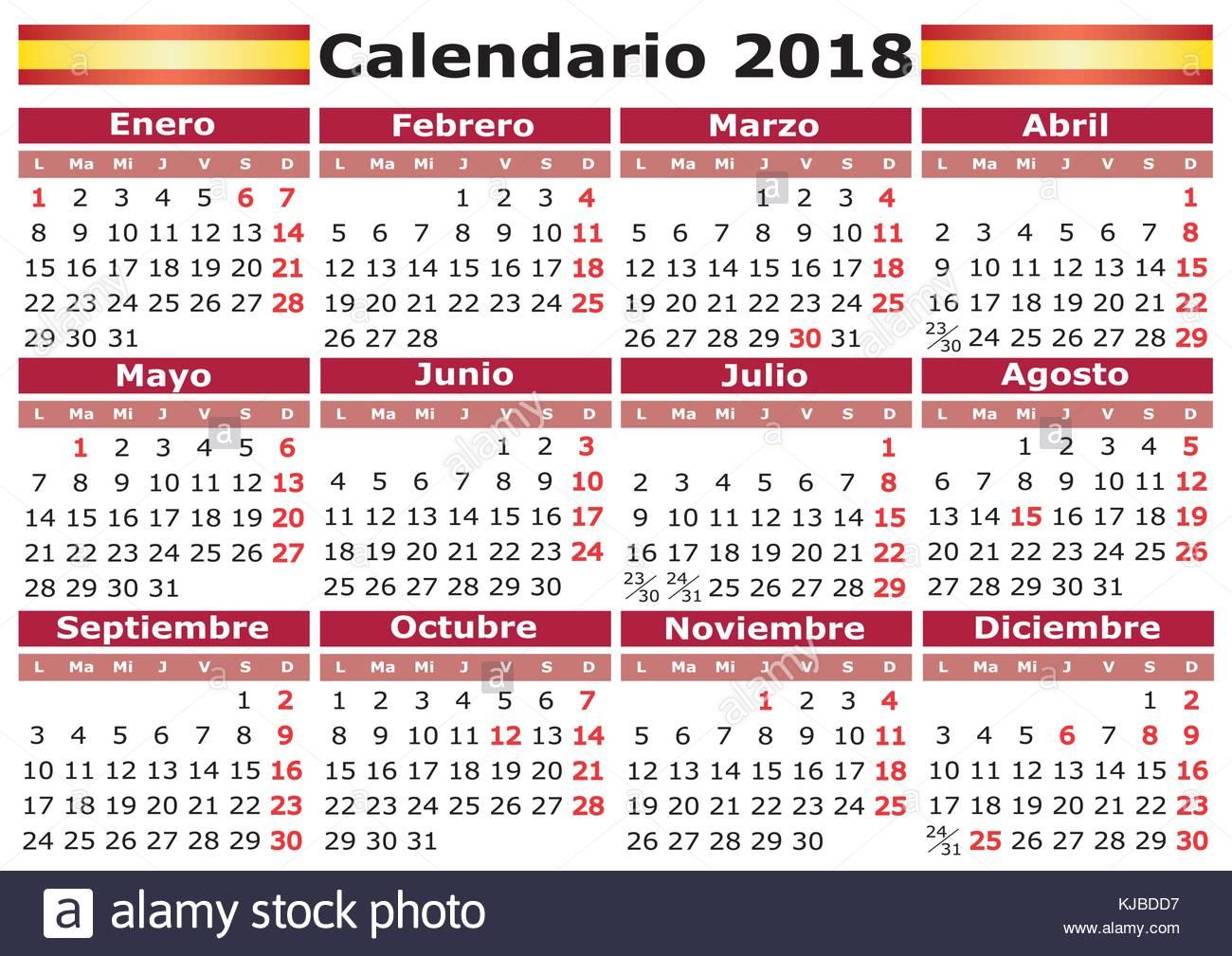 Spanish Calendar For March Learn Spanish Online At Studyspanish Calendario 2018 Stock Photos And Calendario 2018 Stock