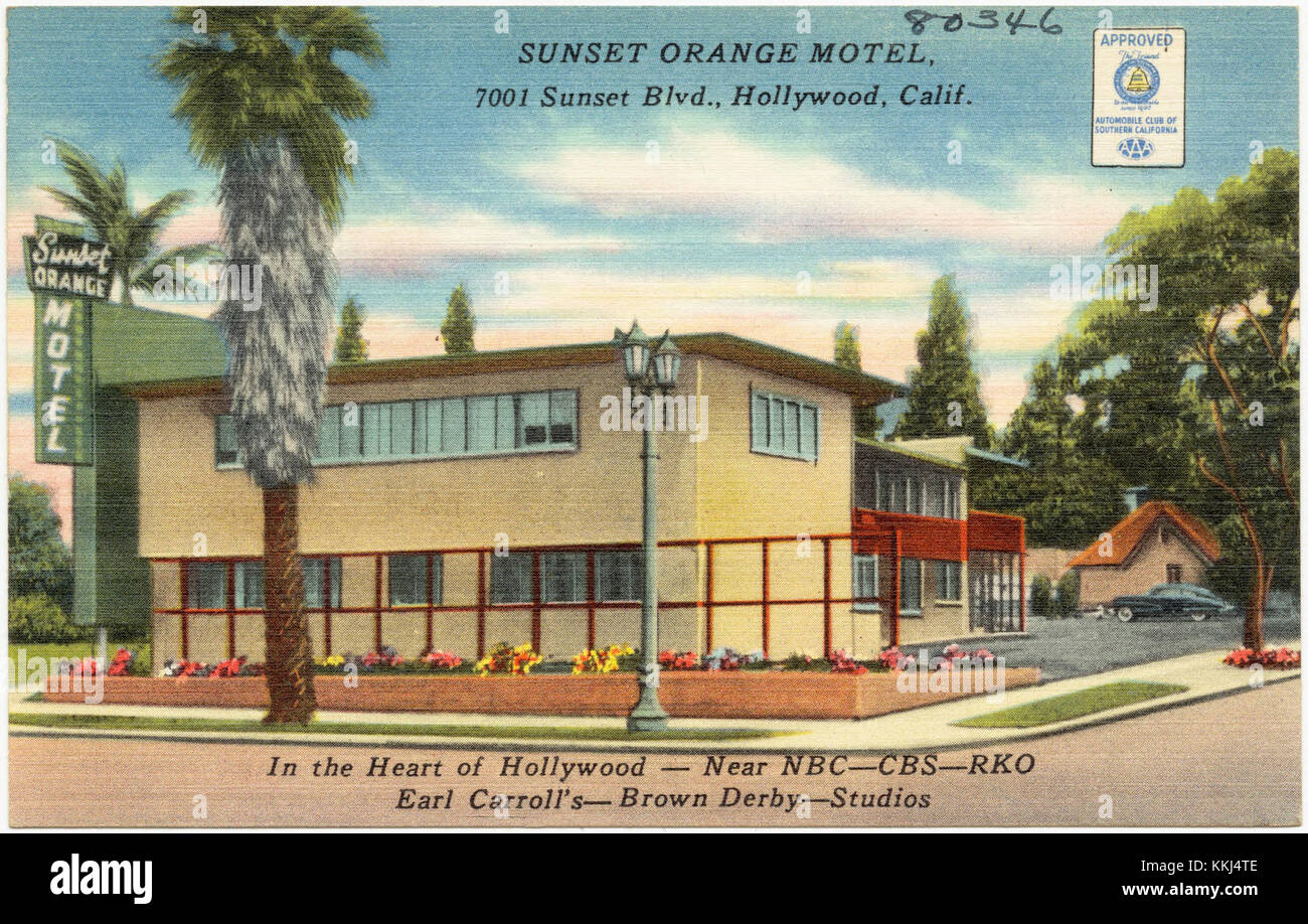 Hollywood Motel Sunset Orange Motel 7001 Sunset Blvd Hollywood Calif In The