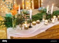 wedding, table setting, comfort concept. winter decor of ...
