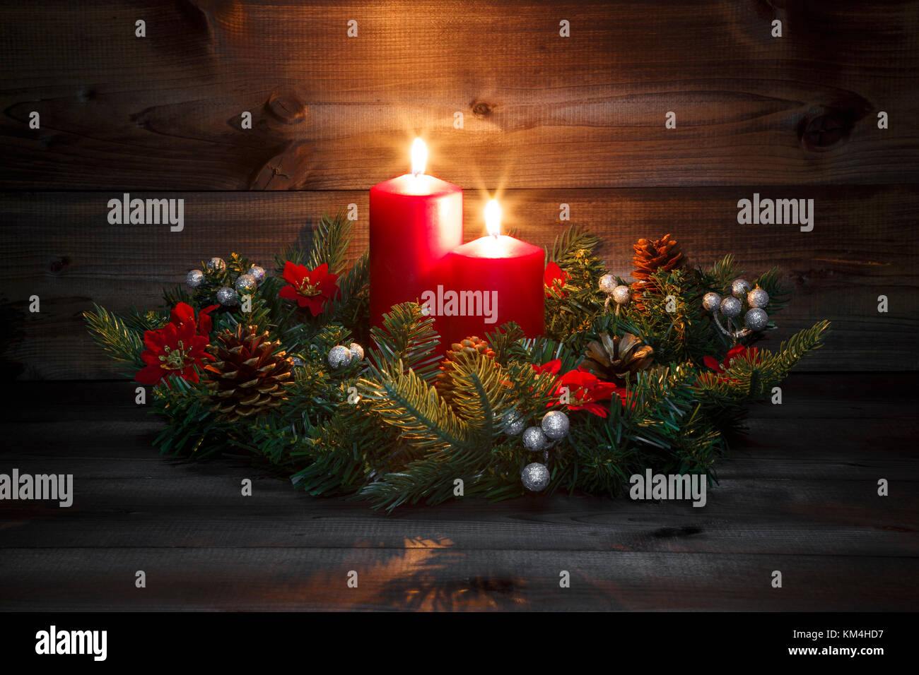 Bilder Zum Advent Second Advent Decorated Advent Wreath With Two Red Burning