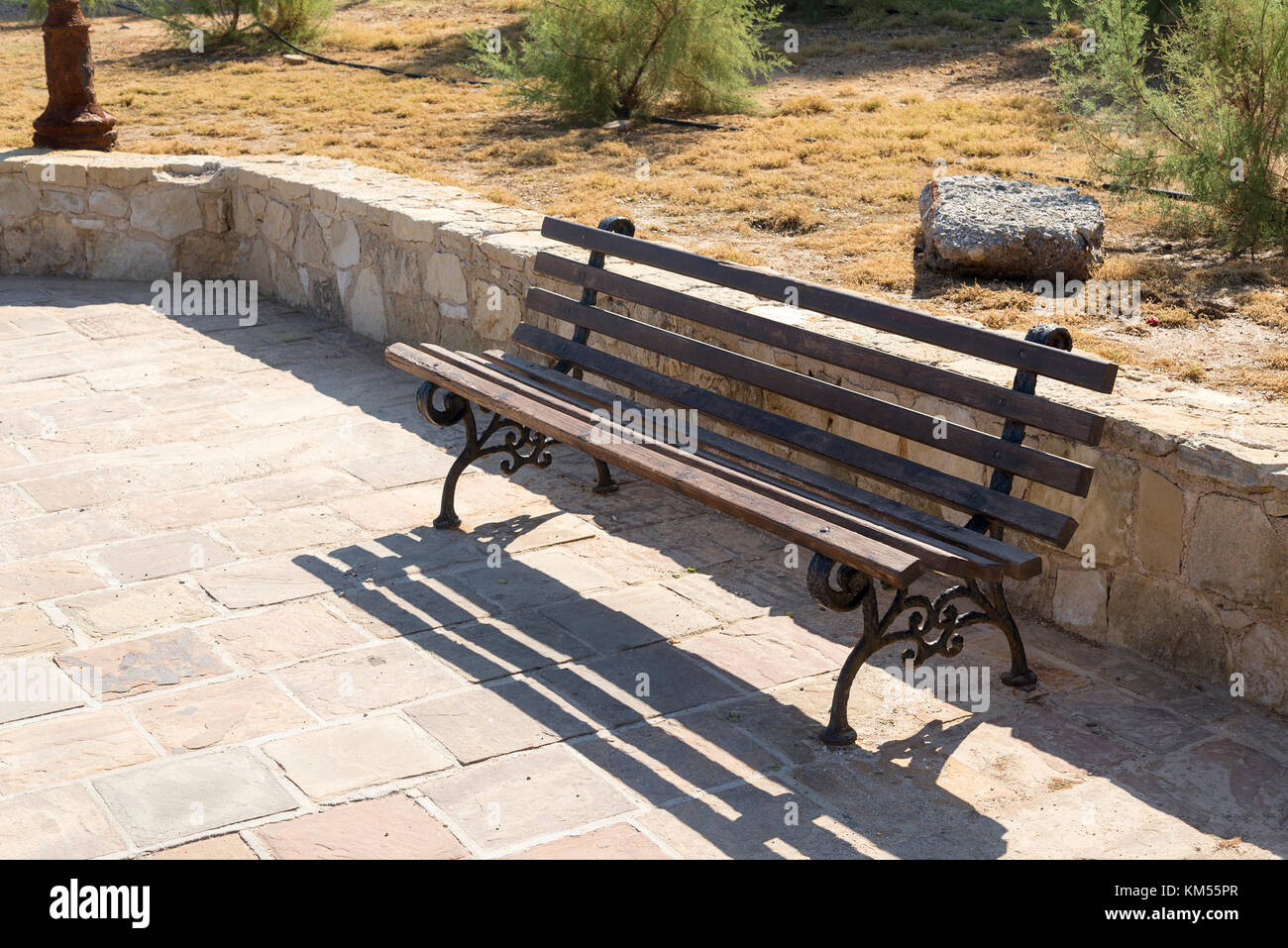 Wooden Park Benches Front Chair Sidewalk Stone Stock Photos And Chair Sidewalk Stone