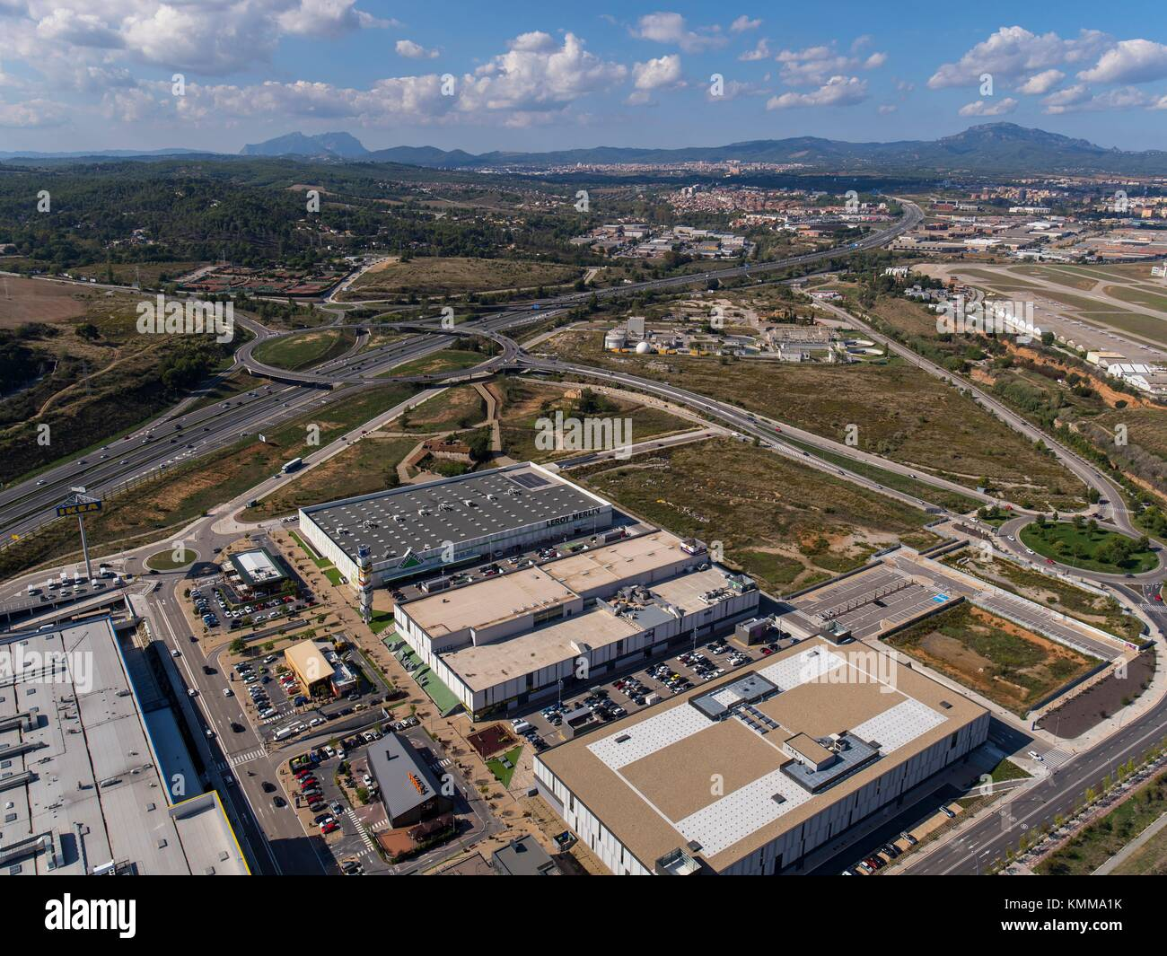 Sabaedell C 58 Highway And Commercial Center In Sabadell Barcelona Stock