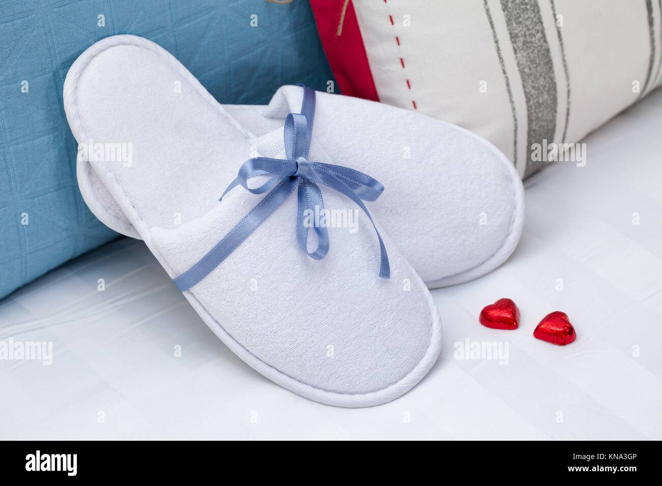 Baby Hotel Slippers White Hotel Home Spa Wellness Slippers With Two Heart