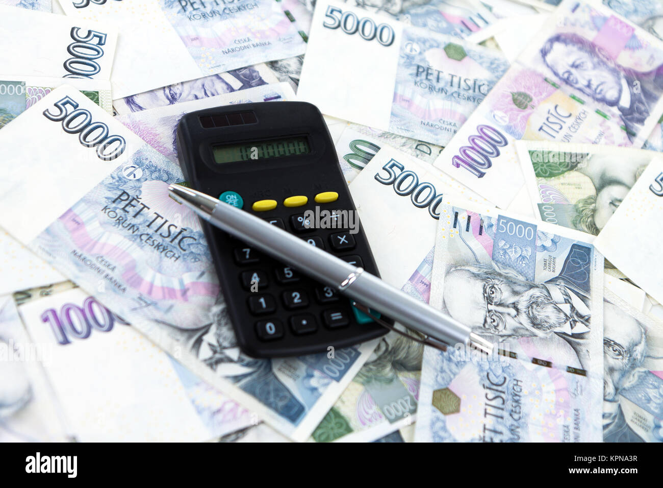 Background Masak Czech Paper Money And Accounting On White Background Stock Photo