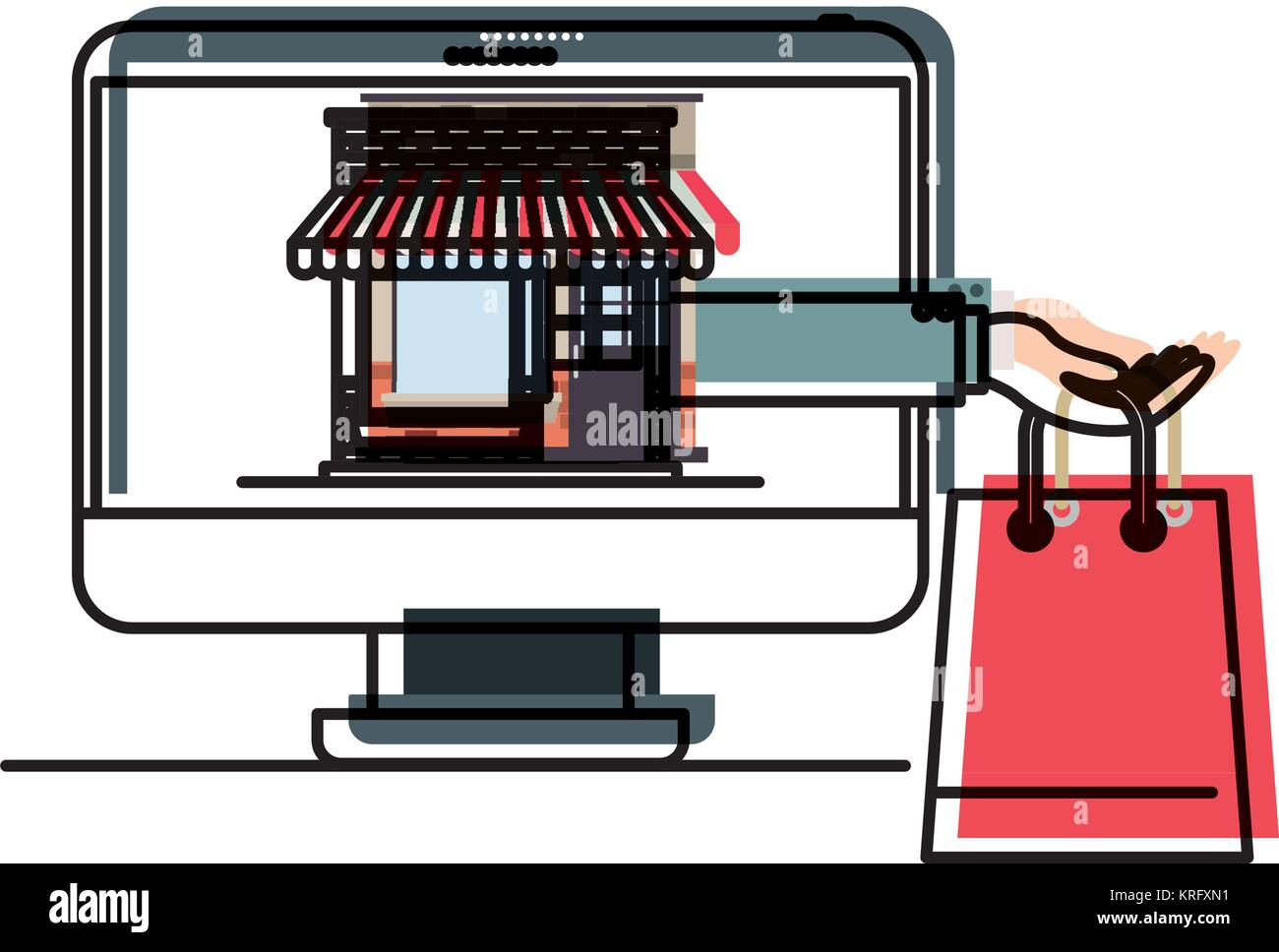Computer Online Store Desktop Computer Front View With Online Store And Shopping Bag In