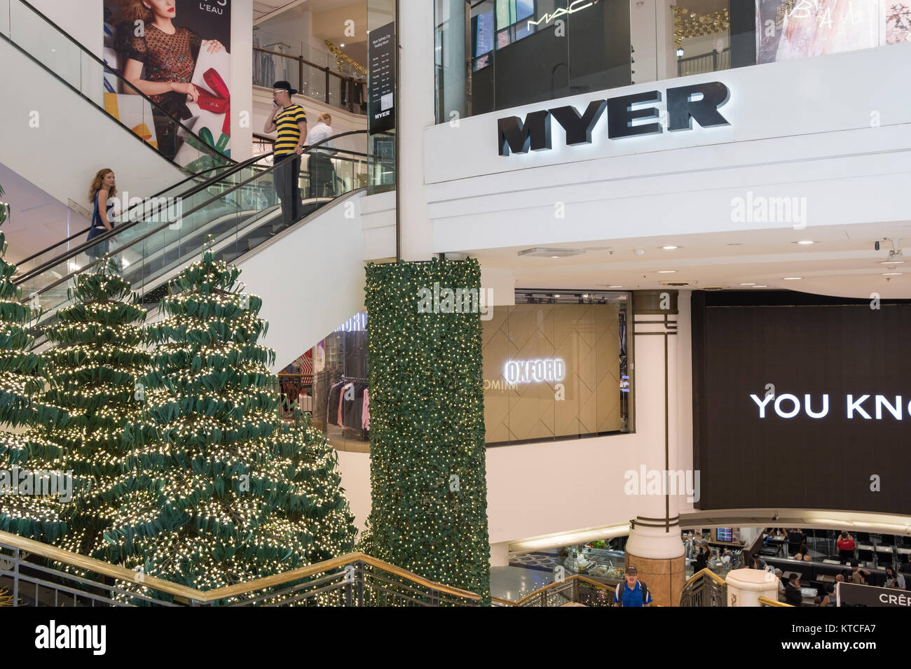 Christmas Shops Sydney Entrance To Myer Department Store In Sydney At Christmas Time With