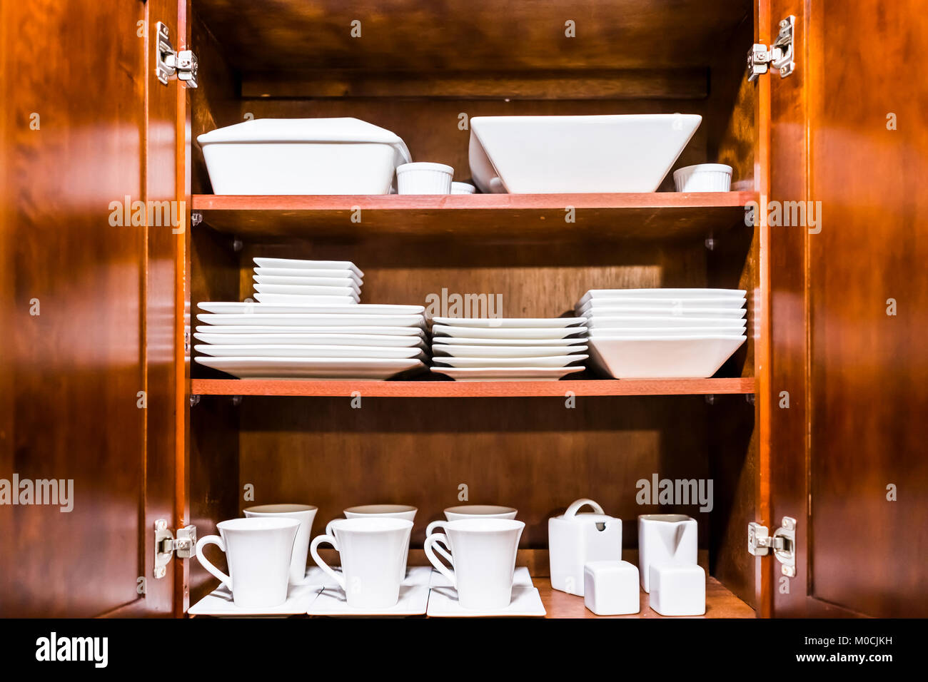 Wood Kitchen Cabinet Doors Open Wooden Kitchen Cabinet Door Cupboard With Many White Dishes