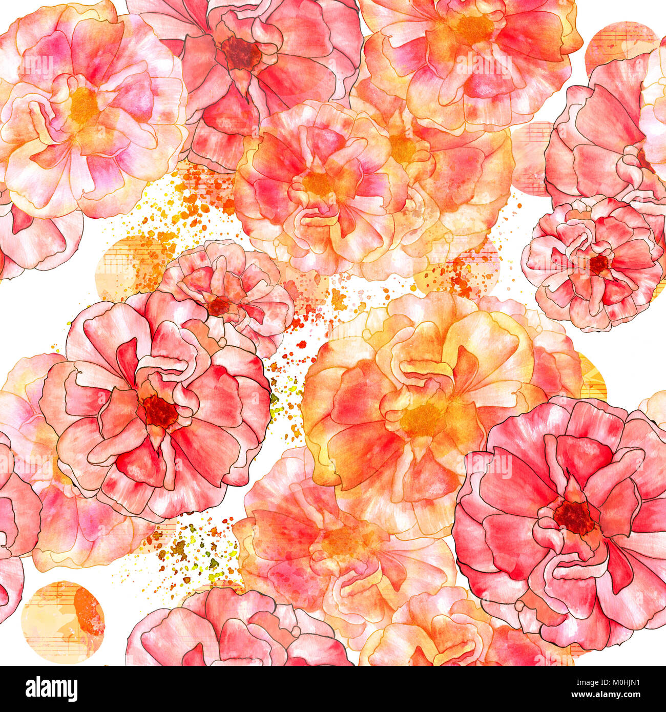Art Nouveau Yellow A Seamless Pattern With Watercolour Drawings Of Blooming Pink And