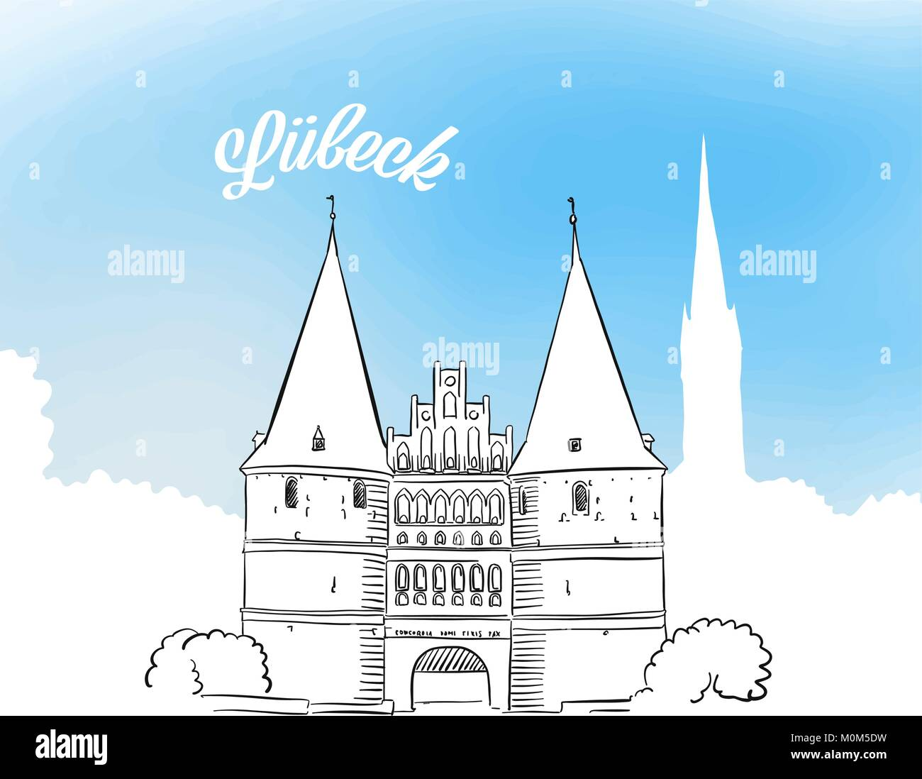 Lübeck Card Sketch Of Holstentor In Lubeck Hand Drawn Vector Illustration