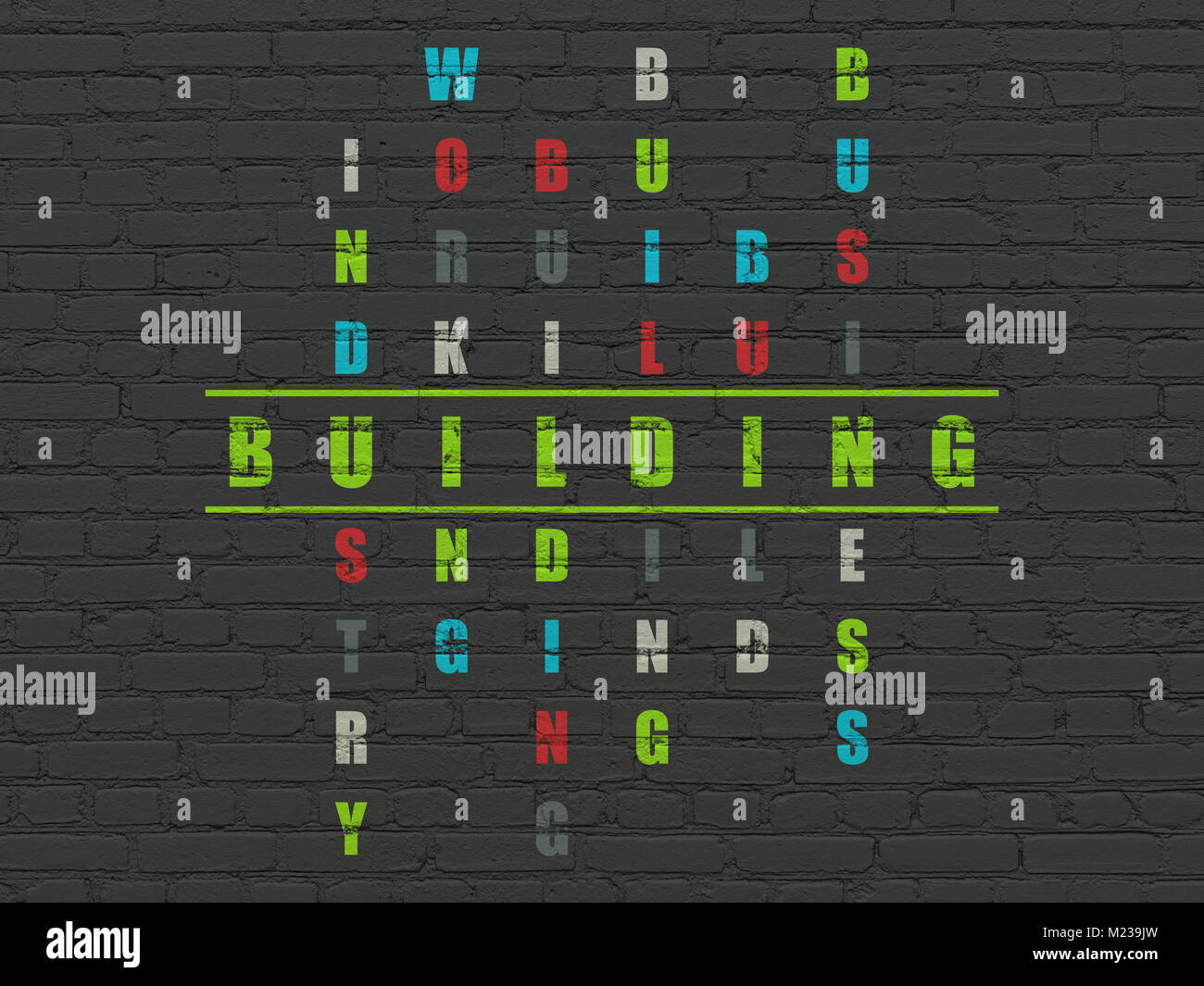 Placard Crossword Construction Concept Building In Crossword Puzzle Stock Photo
