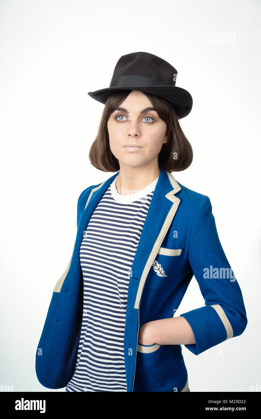 Stylish Clothes Beautiful Young Girl Large Blue Eyes Wearing Very Stylish Clothes