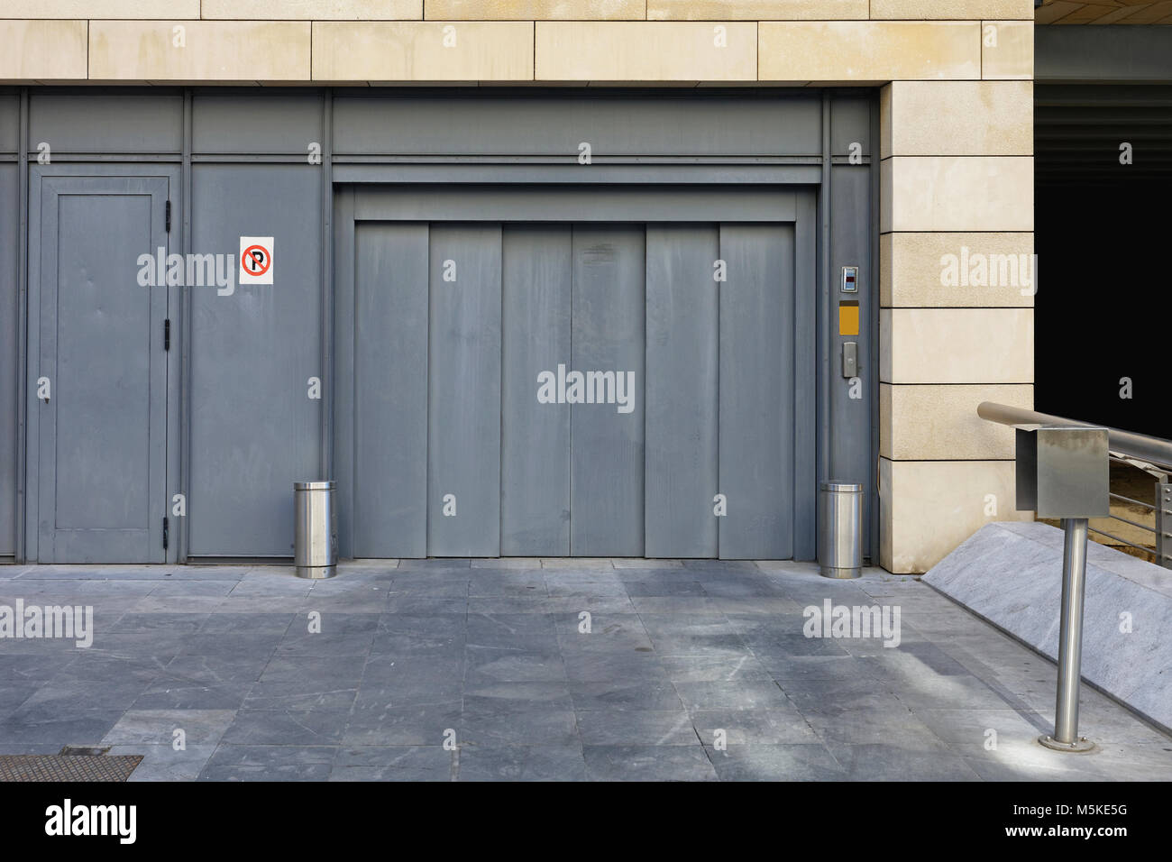 In Ground Garage Car Lift Elevator Lift Entrance To Underground Car Garage Stock Photo