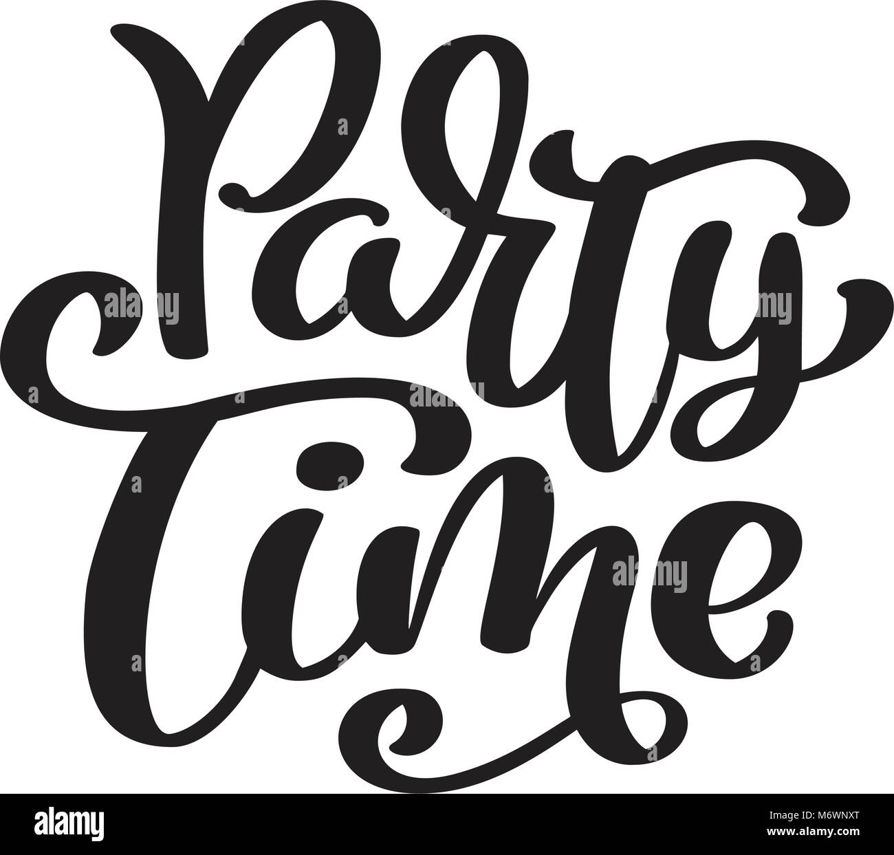 Party Time Hand Drawn Text Party Time Card Summer Lettering Ink