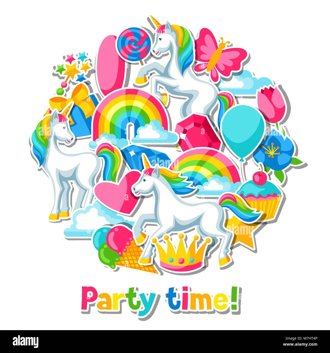 Party Time Party Time Card With Unicorn And Fantasy Items Stock Vector Art