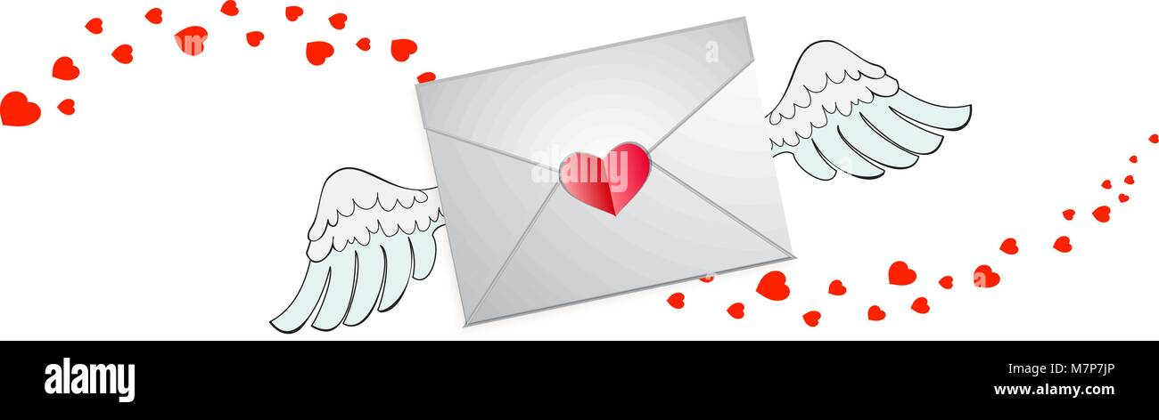 Closed envelope with heart stamp, white angel wings and hearts wave