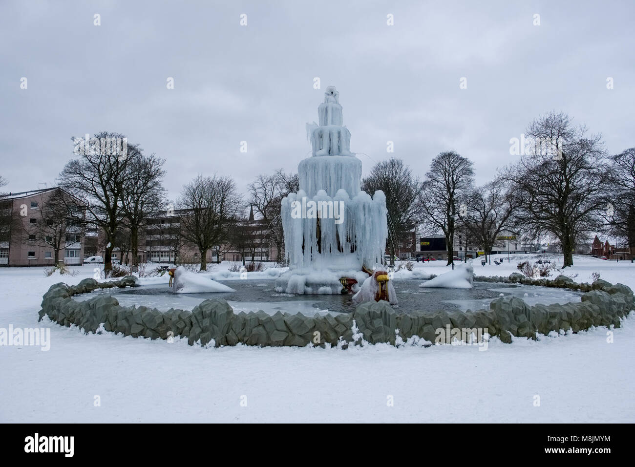 Frozen Fountain Frozen Fountain At Fountain Park Paisley Scotland During Beast