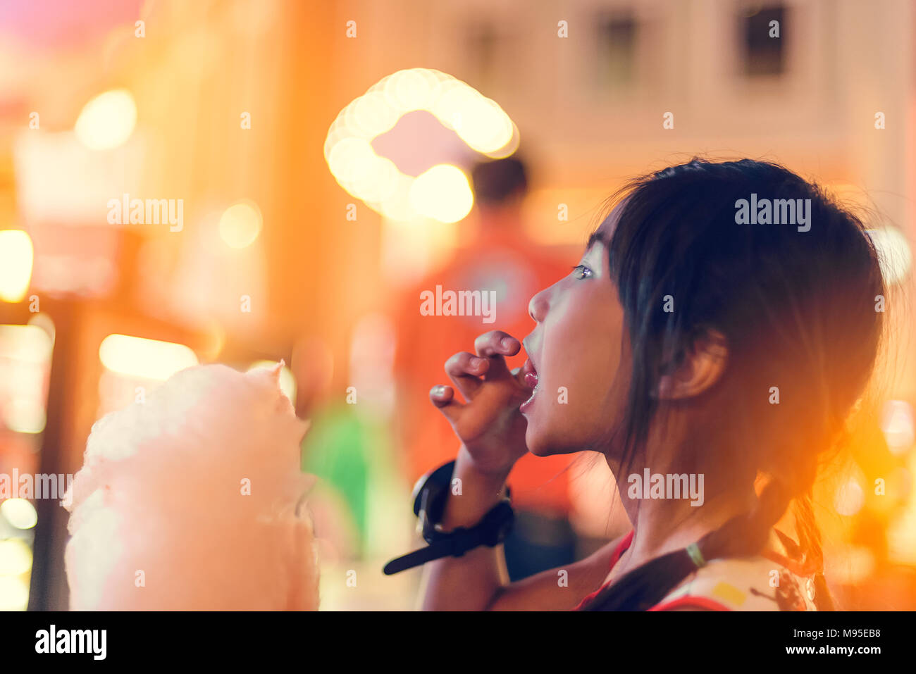 Girl Night Lights Cute Girl With White Cotton Candy And Night Light Stock Photo