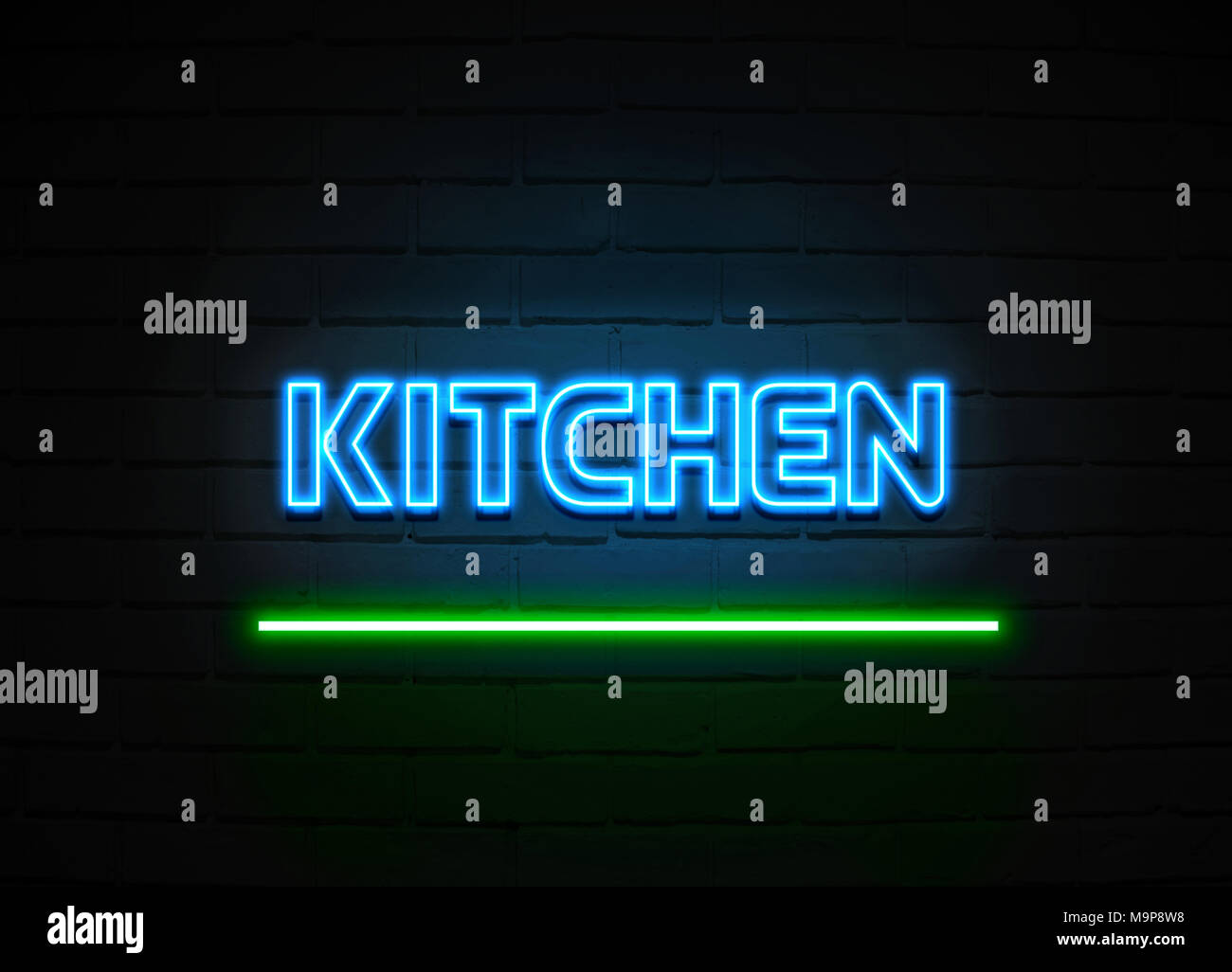 Neon Cucina Kitchen Neon Sign Glowing Neon Sign On Brickwall Wall 3d