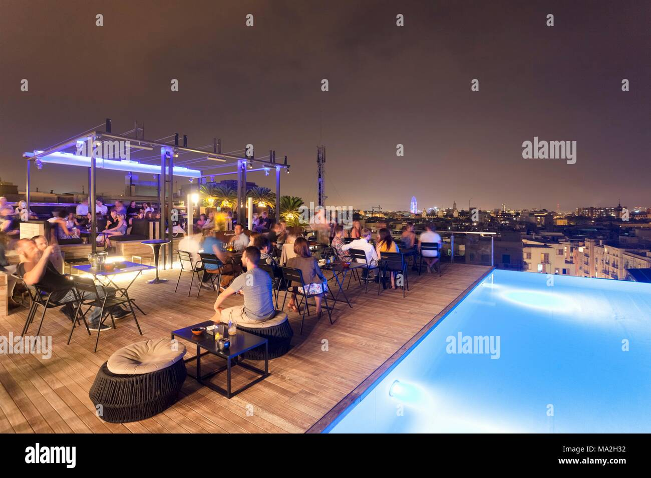 Grand Hotel Central Barcelona A Bar In Barcelona: A Roof Terrace With A View Of The Torre Agbar At The Grand Hotel Central, Catalonia, Spain Stock Photo - Alamy