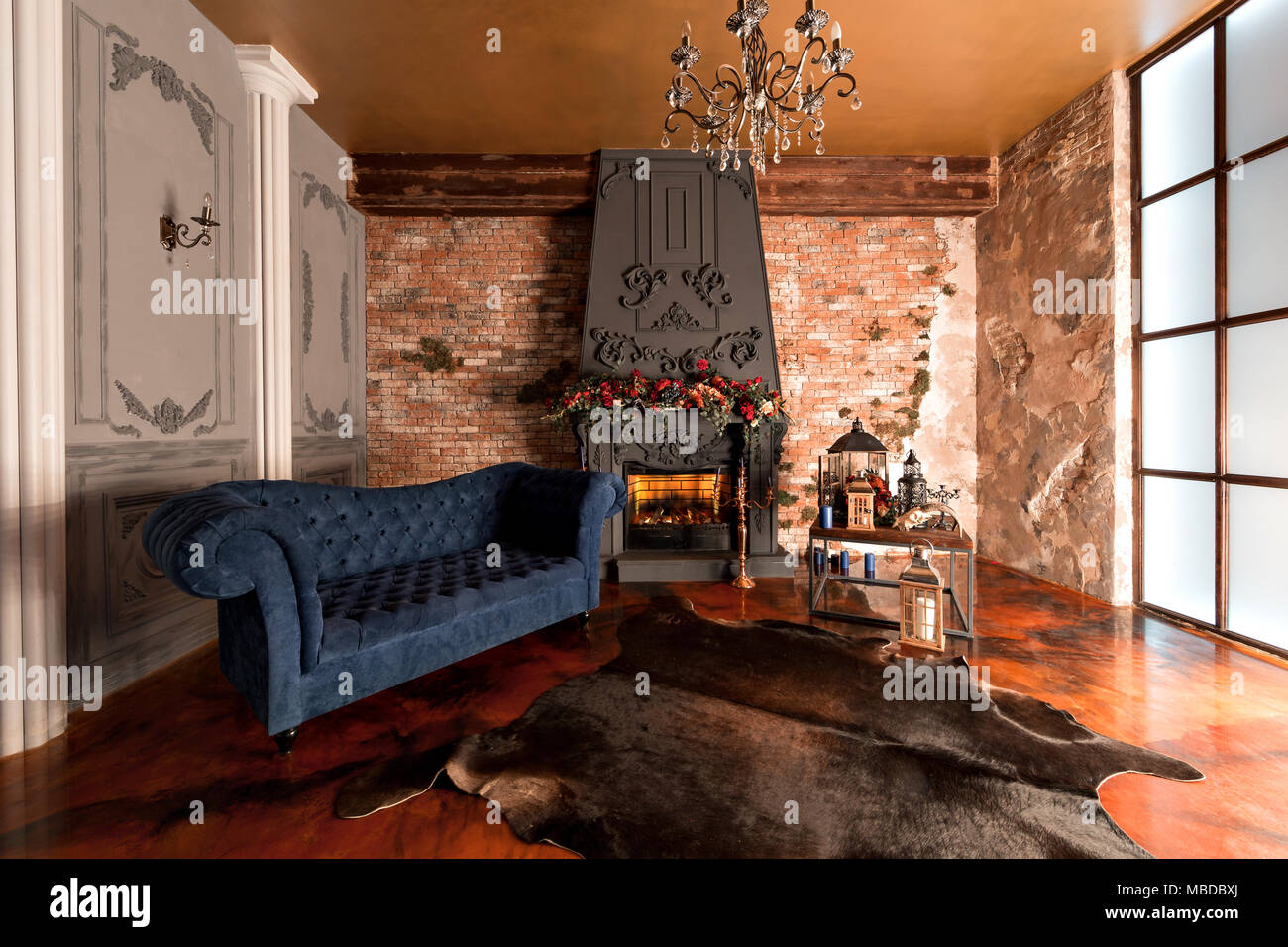 Brick Meubles Divan Lit Loft Style Interior With Fireplace Candles Skin Of Cows Brick