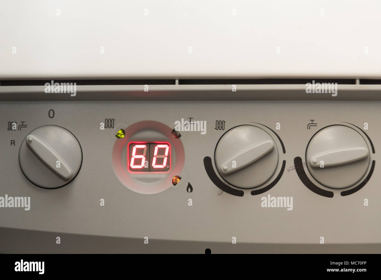 Closein Boiler Close Up Of The Controls Of A British Combi Gas Boiler Stock Photo
