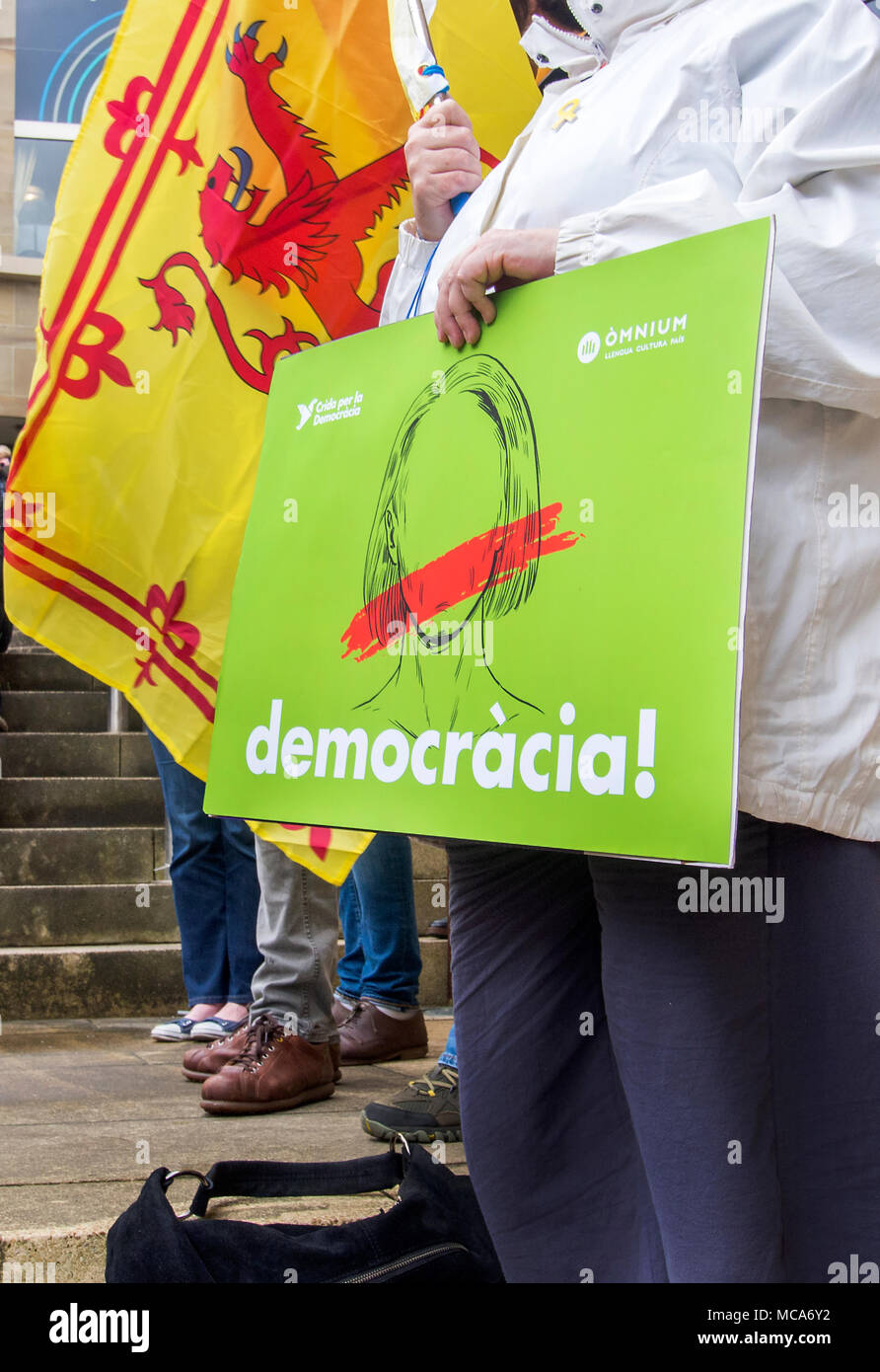 Placard Rampant Glasgow Scotland 14th April 2018 A Pro Catalan Placard With The