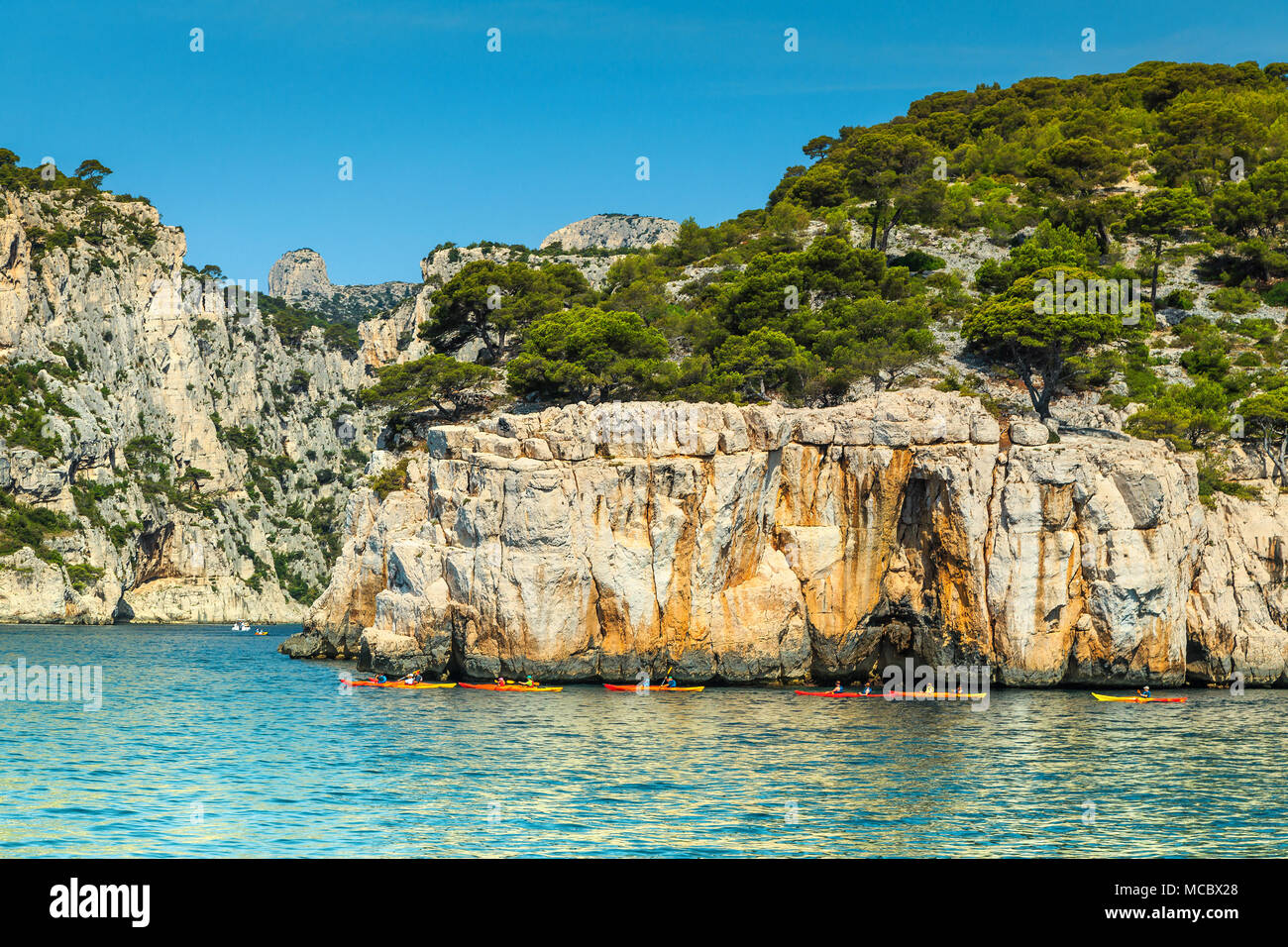 Location Canoe Cassis Mediterranean Landscape Colorful Kayaks In The Famous French