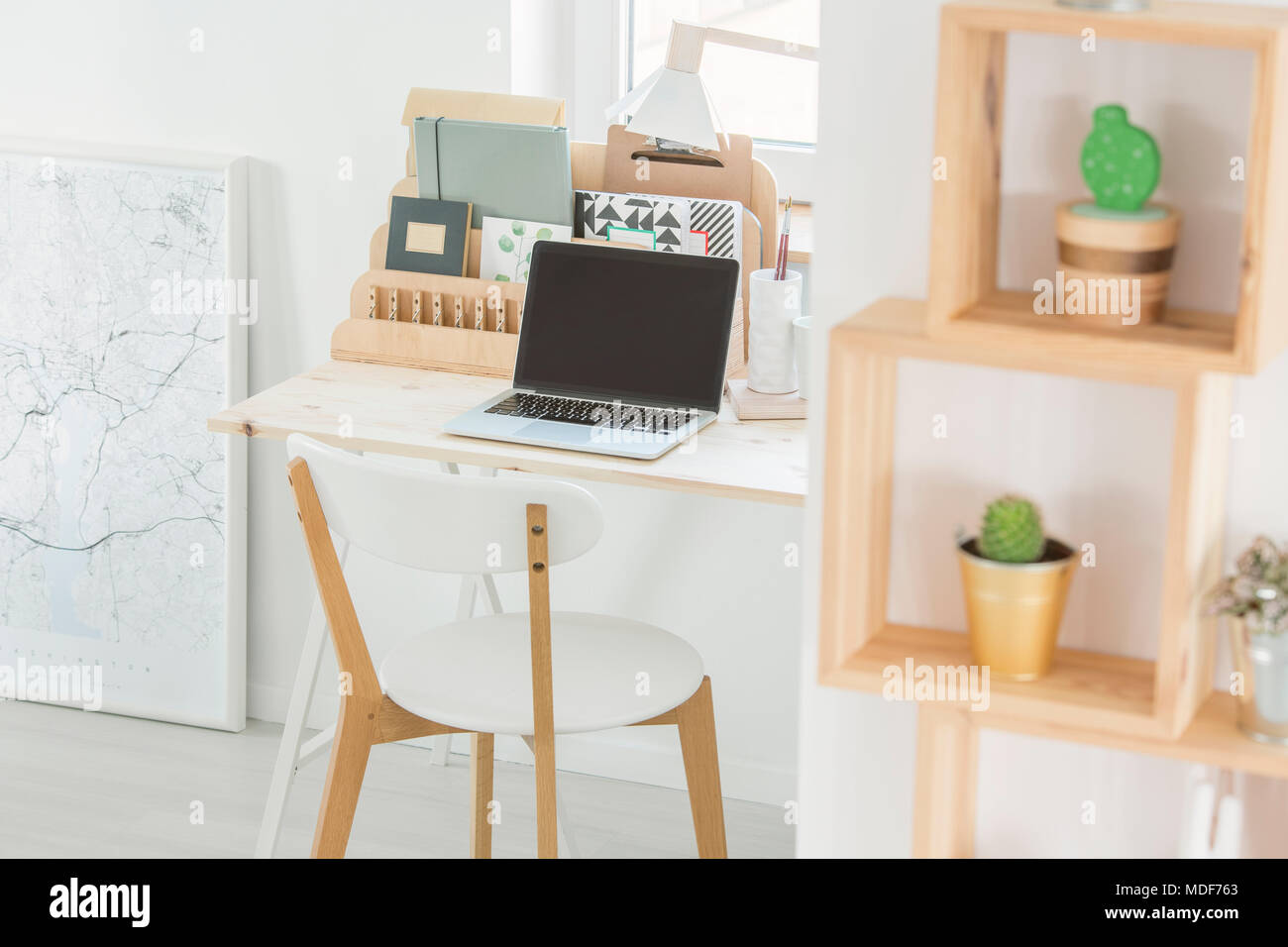 White Desk Chair Wood Laptop On A Wooden Desk Chair And Shelves With Cactus In A White