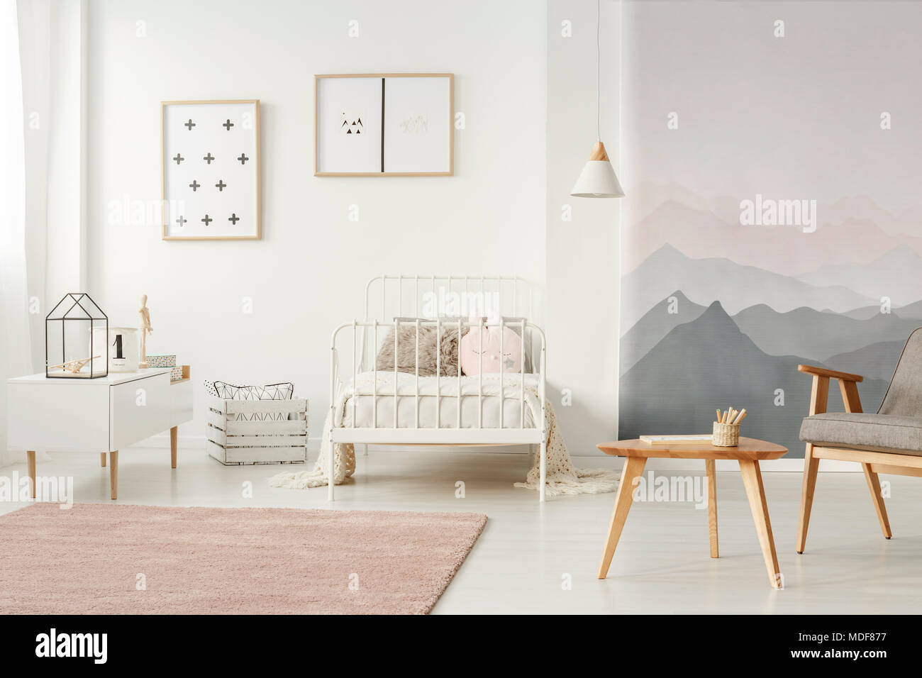 White Metal Bed Standing In Bright Kids Room Interior