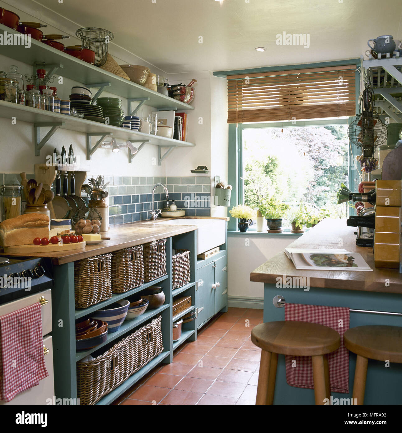 Country Kitchen Shelves Traditional Country Kitchen Green Units Red Quarry Tiled Floor