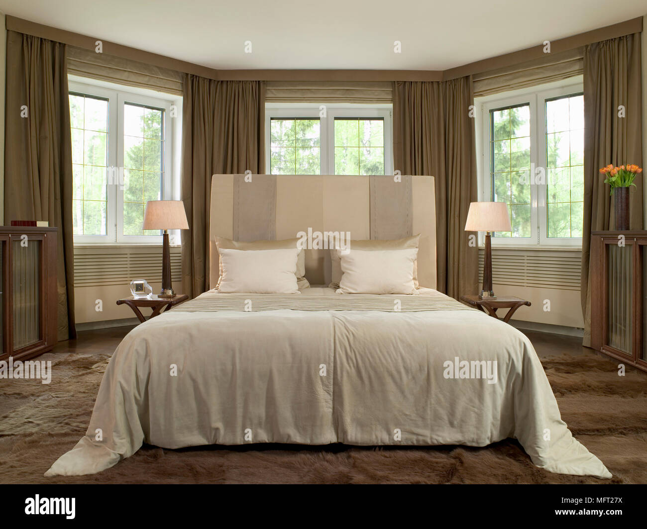 Headboards In Front Of Windows Master Bedroom With Double Bed With Headboard On Carpet And In