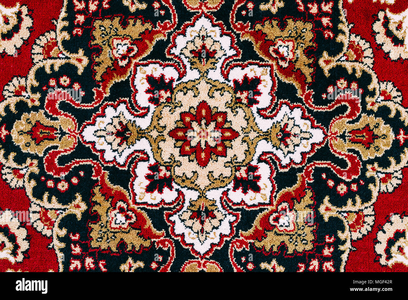 Asian Carpet Red Asian Oriental Persian Carpet Texture Background Stock Photo