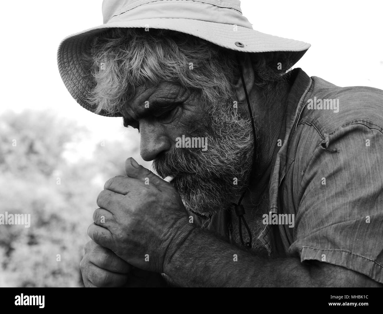 Old Man White Beard Smoking Stock Photos Old Man White