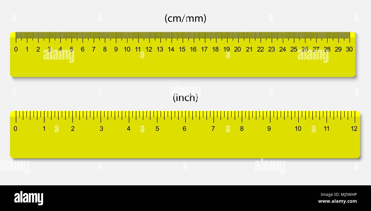 Ich Cm Yellow Rulers, Marked In Centimeters And Inches Stock Vector Image & Art - Alamy
