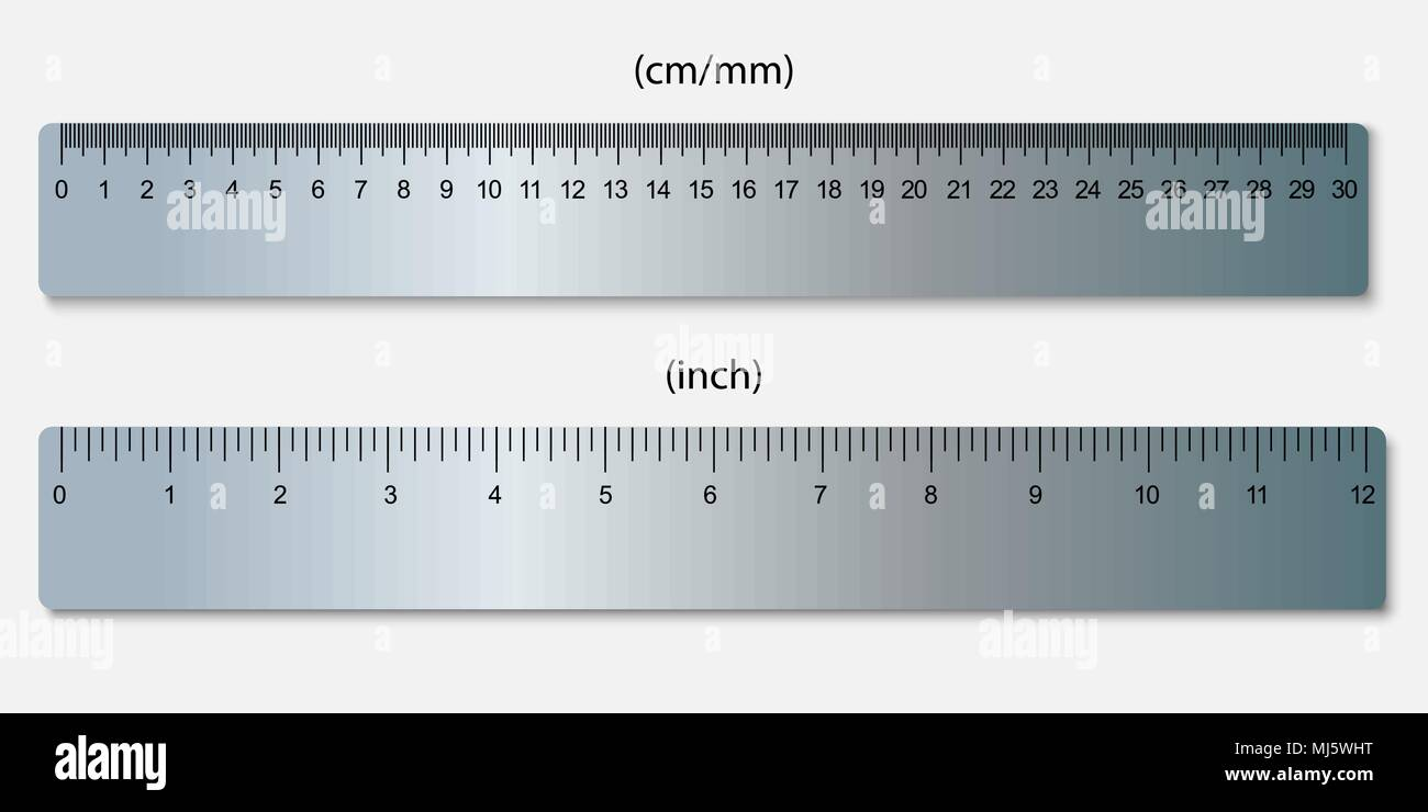 Ich Cm Metallic Rulers, Marked In Centimeters, Inches Stock Vector Image & Art - Alamy