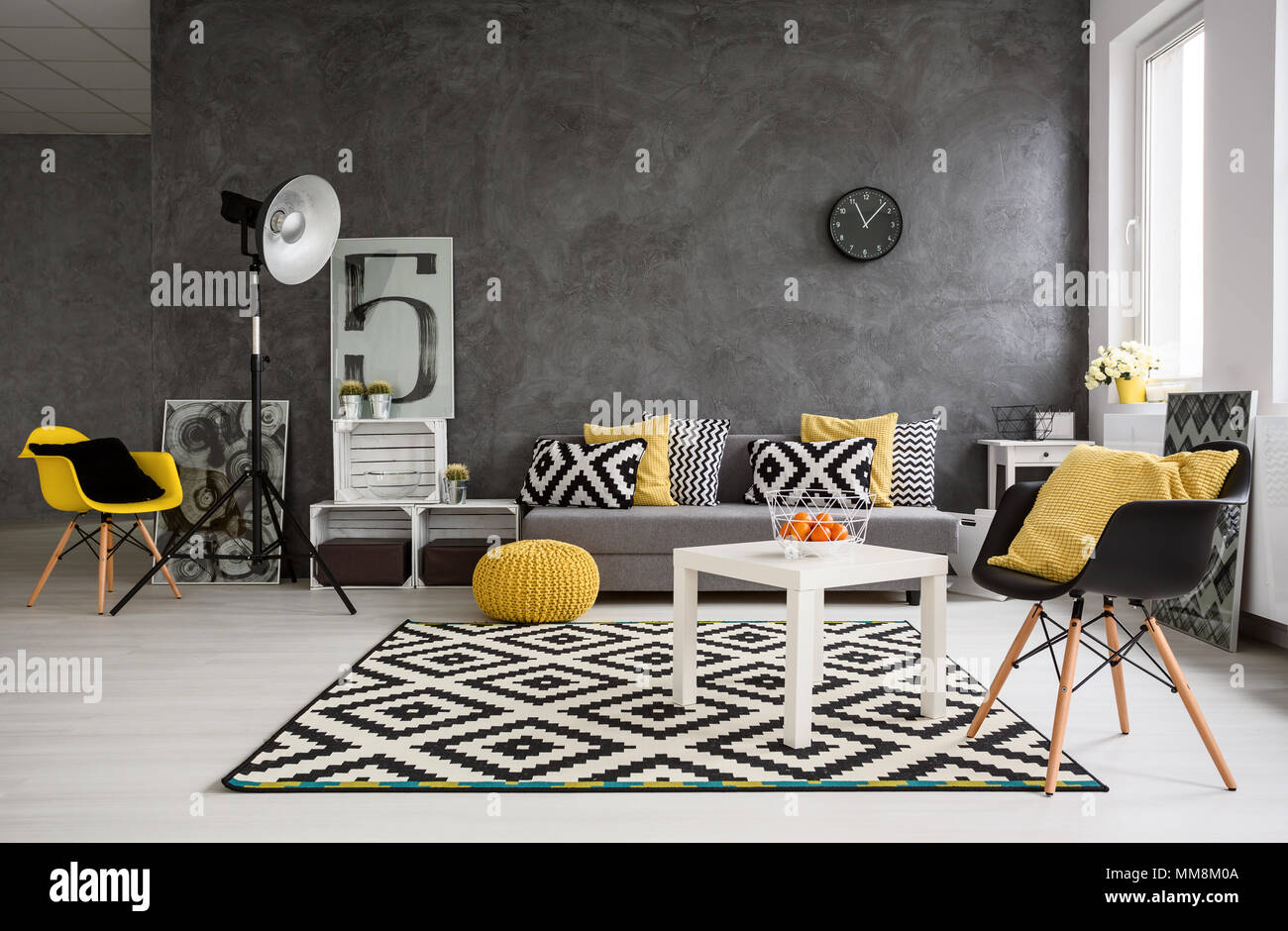 Yellow Decor For Living Room Stylish Spacious Living Room With Grey Walls And Black White And