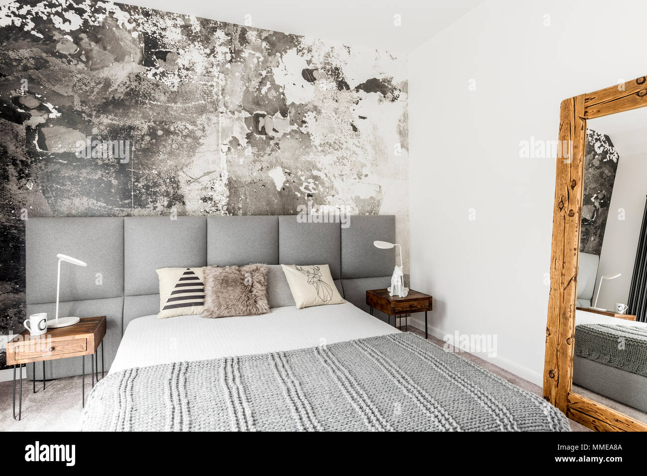 Rustic Walls Interior Gray And White Interior Of Modern Bedroom With Wooden Bedside