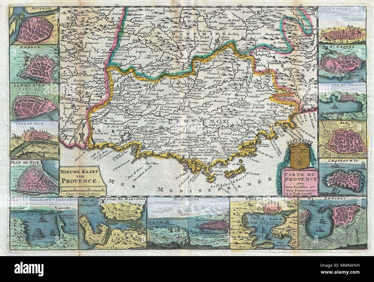 Antibes To Toulon English A Stunning Map Of Provence Provençal France First