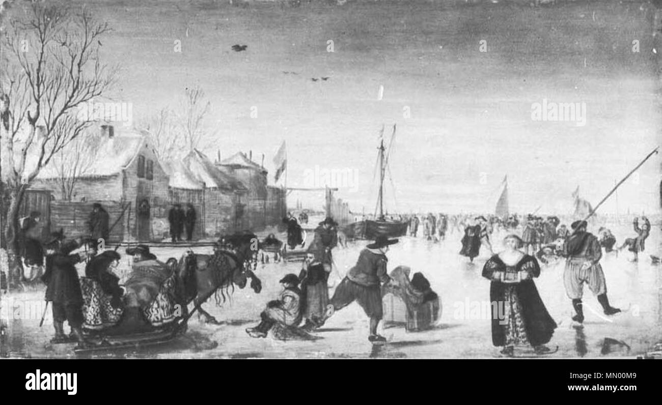 De Stomme Van Kampen English Horse Drawn Sled And Skaters Between 1600 And 1634