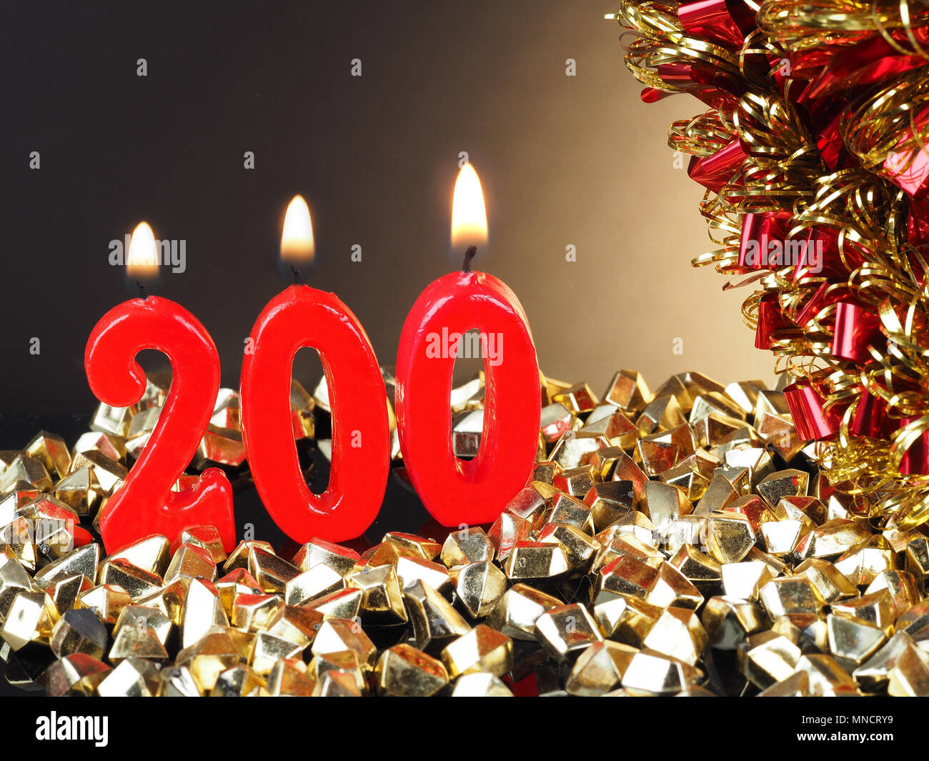 Lit En 200 Birthday Anniversary Candle Showing Nr 200 Lit Red Candle Good