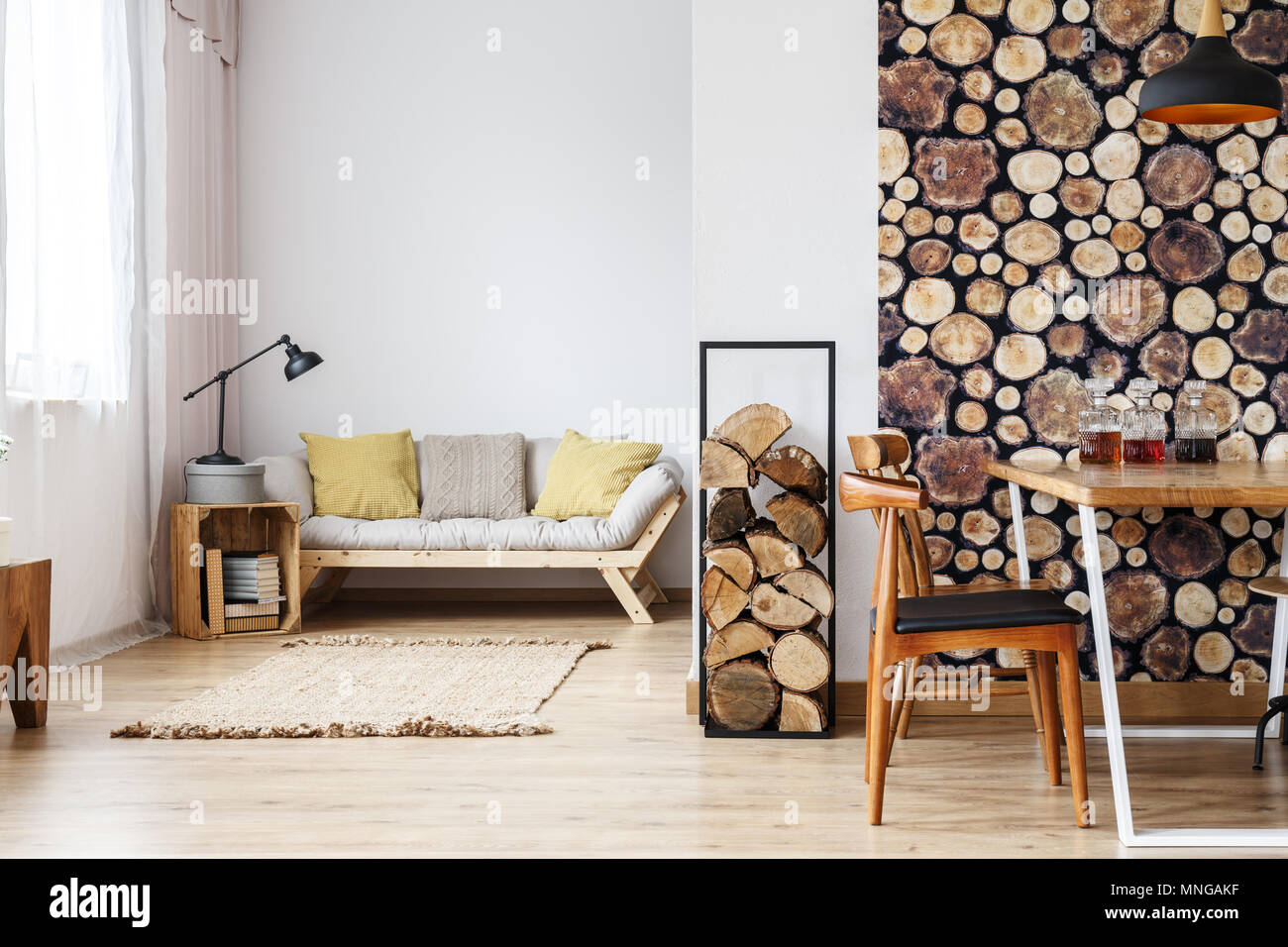 Sofa Open Box Natural Design In Open Plan Studio With Log Holder Wood Wallpaper